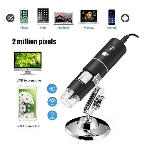WiFi Microscopio Microscopio Portable 50-1000X Zoom 2 Millones de píxeles 8 LED de transmisión inalámbrica Adecuado para niños y Principiantes Soporte teléfono Inteligente Android Tableta de iPhone