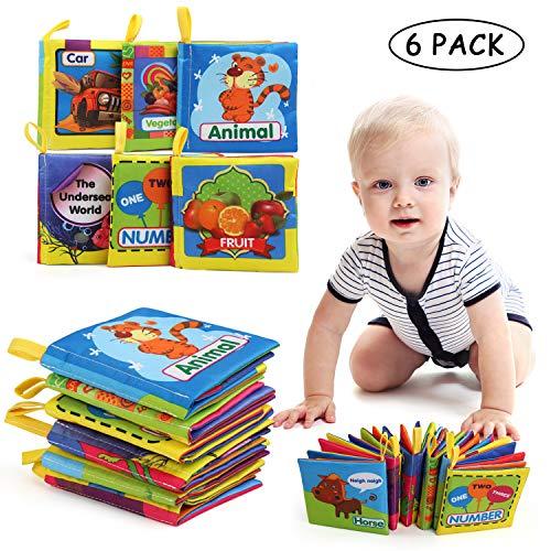 LEADSTAR Libros de Tela para Bebé, Bebé Libro de Suave, Libro de Cognición Paño Adecuados Durante 3 Meses a 3 Años de Edad los Niños Bebé, Juego de 6