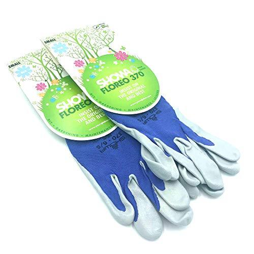 Showa 370Floreo–Juego de 2Pares de Guantes de jardinería ultraligeros Talla S, Azul