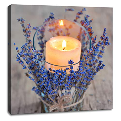 HUADAOART 1 Pieces Vintage Wood Board Candle Lavender Wall Decoration Bathroom Bedroom Home Decor Artwork Canvas Printing Size 16x16inch