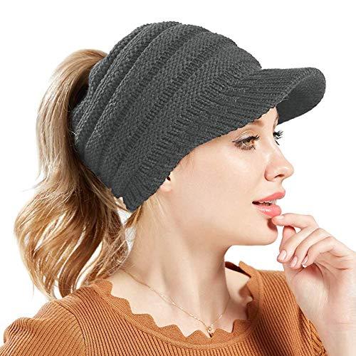 Devil Women's Fashion Knitted Hair Bun Ponytail Visor Brim Beanie Hat -(Grey,Freesize)