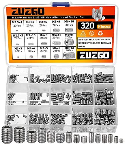 ZUZGO Madenschraube M2.5 M3 M4 M5 M6 M8 Gewindestift 320Stk Sechskantkopf Inbusschraube Sortiment Edelstahl Hex Grub Kopf Maschinenschrauben Kits