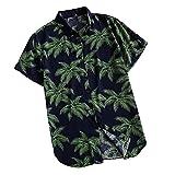 N\P Camisa de manga corta con estampado hawaiano para hombre casual con estampado de botones para playa