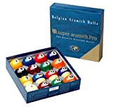 Aramith 2-1/4' Regulation Size Billiard Pool Balls, Complete 16 Ball Set Professional Quality (Super Pro)