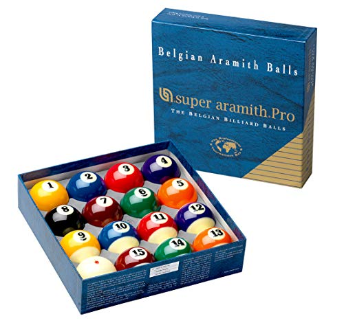 Aramith 2-1/4' Regulation Size Billiard Pool Balls, Complete 16 Ball Set Professional Quality (Super...
