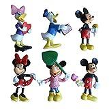 6 Piezas Mickey Mouse Cake Topper Hanel-Disney Mickey Mouse Tarta Decoración Niños Mini Muñeca Hecha a Mano Shower Fiesta Cumpleaños Pastel Decoración Suministros