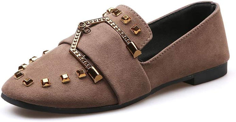 Phil Betty Women Flats shoes Square Toe Slip-On Rivet Fashion Comfort Casual Flats shoes