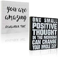 2ピース スモール トークサイン 木製 インスピレーショナル サイン You Are Amazing デスクトップ装飾 正の木製飾り板 One Small Positive Thought in the Morning Can Change Your Whole Day, 5.25インチ