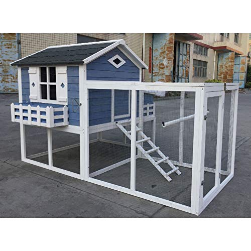 Flyline Garden Window Large Chicken Coop Chook Pen Cage House Predator Proof L85 x W58 x H52 inches