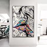 Cuadro en Lienzo Cuadros Decorativos Mural Amante besando Calle Graffiti Arte Pintura sobre Lienzo Carteles e Impresiones Cuadro de Arte de Pared para la decoración del hogar de la Sala de Estar