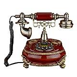SXRDZ Teléfono telefónico Retro de Madera de imitación con Cuerpo de Madera y Metal, Antiguo Estilo Europeo, teléfono, teléfono, teléfono