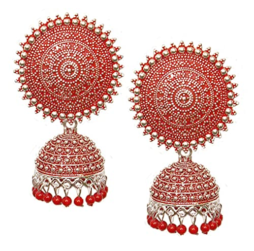 Pahal Jaipur - Pendientes redondos de plata Jhumka con perlas rojas pintadas en forma de perla roja