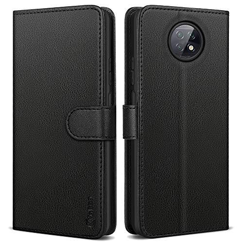 Vakoo Handyhülle für Xiaomi Redmi Note 9T Hülle, Premium Leder Tasche Flip Hülle für Xiaomi Note 9T 5G Hülle, mit RFID Schutz, Schwarz - 6.53 Zoll