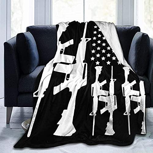 AR-15 Segunda Enmienda - Gun Rights - Manta de franela ultra suave para todas las estaciones de la sala de estar/dormitorio manta cálida manta de cama