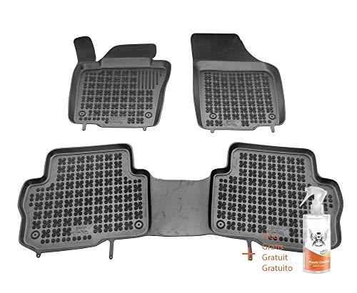 Rezaw-Plast Gummimatten passend für Volkswagen Sharan II versión 5 sitze (vordere, 2ª Sitzreihe) (ab 2010) + Kunststoffreiniger (Geschenk)