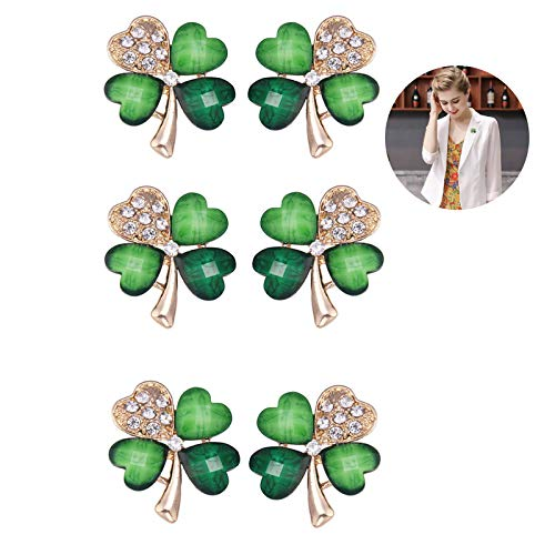 FAFAHOUSE 6 PACK Four Leaf Clover Irish Lucky Shamrock Brooch Pin Crystal St Patrick's Day Women Jewelry Spring Accessory Green