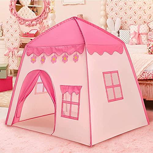 Hakoo Casa de Campaña con Diseño de Castillo para Niños - Transpirable Castillo de Princesa con Decoración de Flor para Guardar Juguetes Uso Interior y Exterior - Rosa - 130cm x 100cm x 130cm (L*W*H)