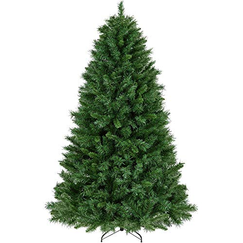 YAHEETECH 6ft Green Unlit 'Feel Real' Newberry Spruce Hinged Artificial Full Christmas Tree with 628 Tips and Foldable Stand, Xmas Tree for Holiday Decoration