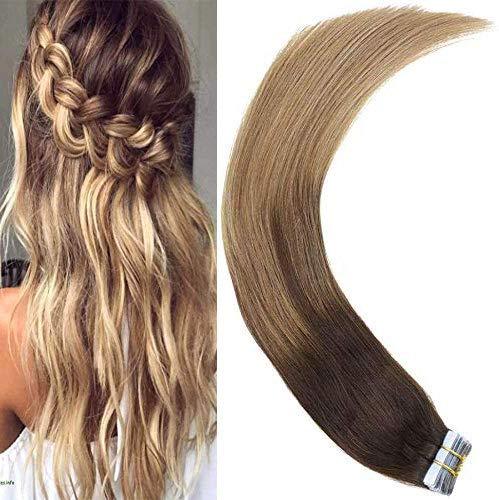 LaaVoo 18 Zoll Skin Weft Echthaar Brasilianisches Hair Glatt Echthaar Verlangerung Dunkelstes Braun Balayage Ashblond 50GR/20PC