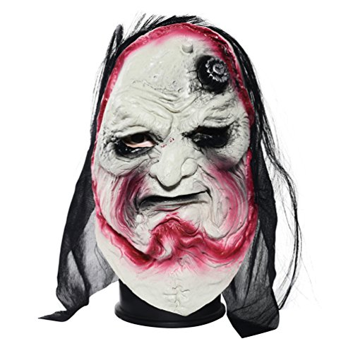 Anguang Halloween Maskerade Zombie Dämon Maske mit Haar Horror Totenkopf Schädel Kopfmaske Kopfbedeckung Grusel Maske Atmosphäre Dekoration Stützen Stil1 (26 * 22cm)