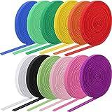 12 Rolls Braided Elastic Bands Colorful Elastic Rope/Elastic Cord Heavy Stretch Strap Cord Elasticity Knit Flat Elastic Band for Sewing Crafts DIY, Bedspread, Cuff (1/4 Inch Wide 53 Yard Long)