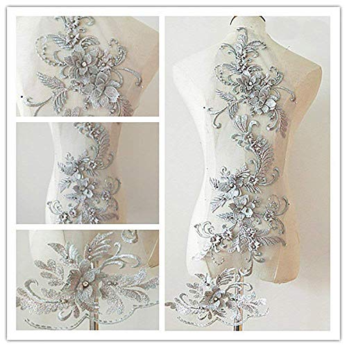3d Lace Appliqué Flower Patch Great for DIY Decorated Craft Sewing Costume Evening Bridal Top 3 in 1 20cm*72cm A1 (Silver)