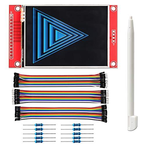 WayinTop 2,8 Zoll SPI TFT-Display ILI9341 240 x 320 TFT Touchscreen mit SD Karten Slot 5V/3,3V + Stift für Eingabe + 10K Widerstand + 20cm Weiblich Männlich Jumper Wire für Arduino/ESP32/ESP8266/STM32