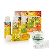 Sauna Set | KK Saunaaufgussset 4 x 100 ml + 50g Mentholkristalle | Saunakonzentrat + Menthol-Kristalle (Karibik), inkl. 50 g Menthol-Kristalle)