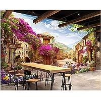Iusasdz カスタム大規模壁紙ヴィンテージ建築ヨーロッパの町の通りの風景の壁紙壁3Dc-120X100Cm