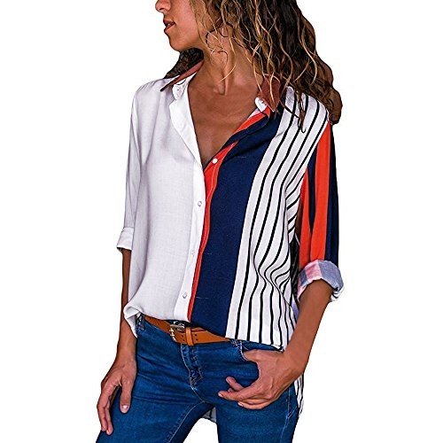MRULIC Damen Shirt Tie-Bow Neck Striped Langarm Spleiß Bluse Gestreift Damen Tragen(T4-Mehrfarbig,EU-42/CN-XL)