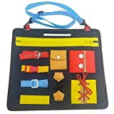 SNIIA Baby Busy Board Montessori Spielzeug für frühe Lernen Grundkenntnisse Lernbuch mit Reißverschluss Knöpfen Schnallen Zöpfe für Kinder Kleinkinder Lernen zu Kleid - 32x28x10cm