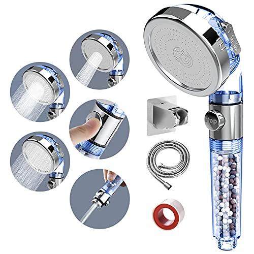 SINGSUO Zen Shower Head, 3 Setting High Pressure Shower Envy Shower Head with Beads, Water Saving Zenbody Shower Head for Dry Hair & Skin SPA (Blue)