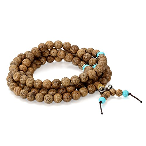Flongo Pulseras budistas Buda Budismo Tibetano, Collar de Madera Pulsera de rosarios Brazalete de energía, Bendición 8mm, Regalo para Hombre
