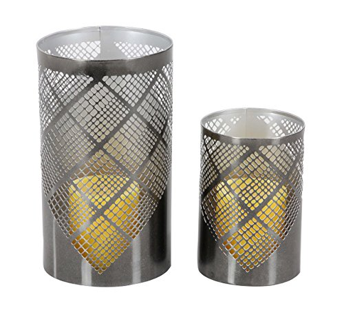 Deco 79 57362 Plaid Pattern Cylindrical Iron Candle Holders, 6' x 9', Gray