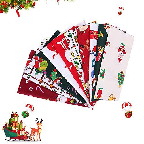 WELLXUNK Tessuto di Cotone Natale, Tessuto Stampato, Patchwork Tessuto Stampato, Tessuto Cotone Set, Cotone Stoffa, Tessuto a Tema Natalizio Tessuto Stampato, per l'Artigianato Fai da Te
