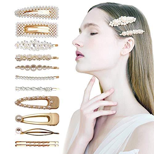 FOXTSPORT - Fermagli per capelli con perle sintetiche, 12 pezzi
