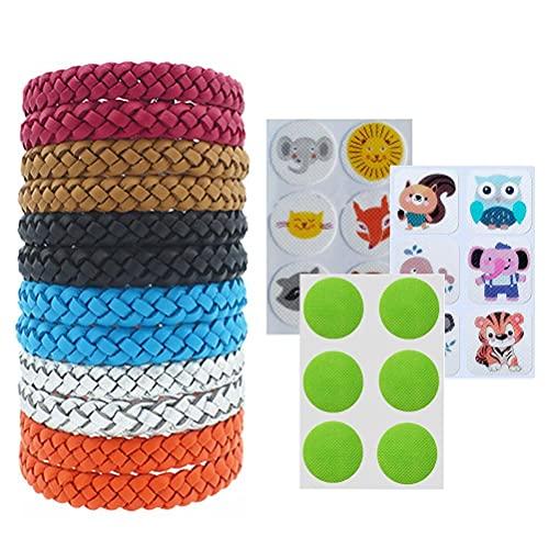 CeFoney 12 pulseras repelentes trenzadas con 18 parches adhesivos para adultos y niños para exteriores, camping, viajes