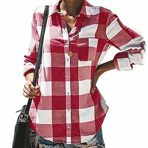 ZFQQ Camisa de Manga Larga de un Solo Pecho a Cuadros con Solapa Multicolor para Mujer Otoño