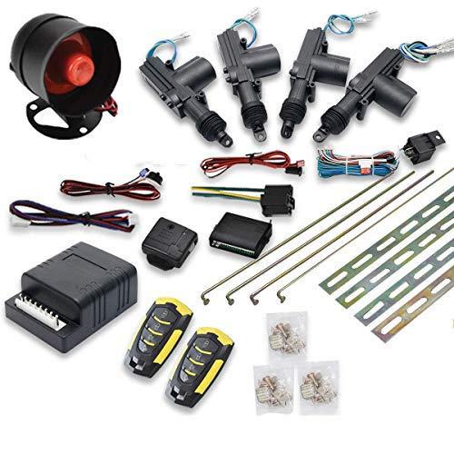Riloer Kit de Bloqueo Central Remoto para Coche, Sistema de Entrada sin Llave de 4 Puertas y Sistema Inmovilizador de Alarma Antirrobo con Sensor de Impacto Universal para Todos los Coches