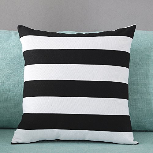 TAOSON Home Decorative Cotton Canvas Square Throw Pillow Cover Cushion Case Stripe Toss Pillowcase with Hidden Zipper Closure Multiple Colors (18'x18'(45x45cm), Black)