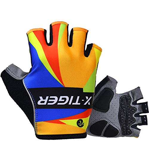 Cycling Gloves Motorcycle MTB Bike Bicycle Men Women Half Finger Breathable Shockproof Absorbing Antiskid 3D Gel Pad Short Mountain Road Summer Sports Riding Outdoor,red,XL 11 cm