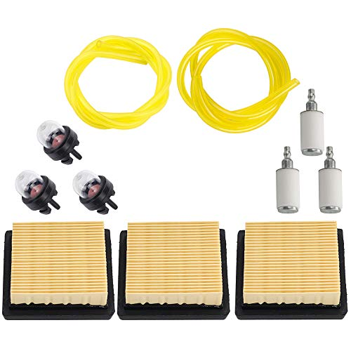 Kizut BP42 Air Filter with Primer Bulb Fuel Filter Line for Ryobi RY08420 RY08420A Gas 42cc Backpack Leaf Blower Replace 900777005
