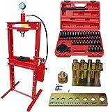 Carmax Werkstattpresse 20T mit 2Pumpen + Druckstück Treibsatz 52-TLG. + Druckdornsatz 8tlg.