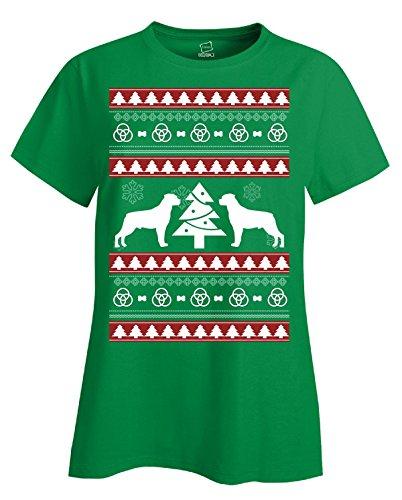 Ugly Christmas Sweater gran regalo para cualquier fan de perro Rottweiler–Ladies T Shirt