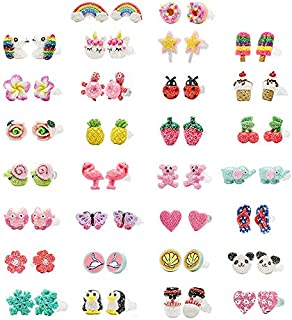 Minihope Girls Jewelry, Hypoallergenic earrings Set for Kids, Made with Polymer Clay, Colorful Cute Stud Earrings