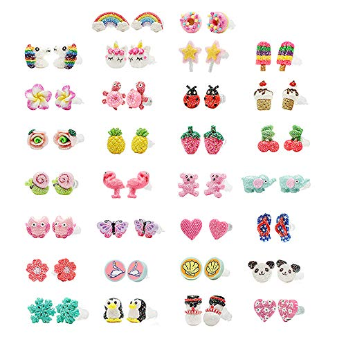 Minihope Hypoallergenic Plastic Post Earrings for Girls, Cute Multiple Animal Unicorn Donut Stud Earrings for Little Girls Kids, Made with Polymer Clay, Best gifts for girls, (30 Pairs)