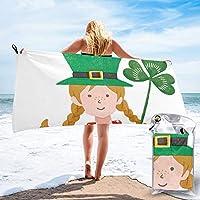 聖パトリック祭の緑の模様 (2) 人気 速乾バスタオル マイクロファイバー 家庭用 フィットネス バスタオル 登山 水泳 野球 ポータブルタオル 吸水性 速乾性 屋外キャン ハイキング ビーチ 旅行 ふわふわ タオル