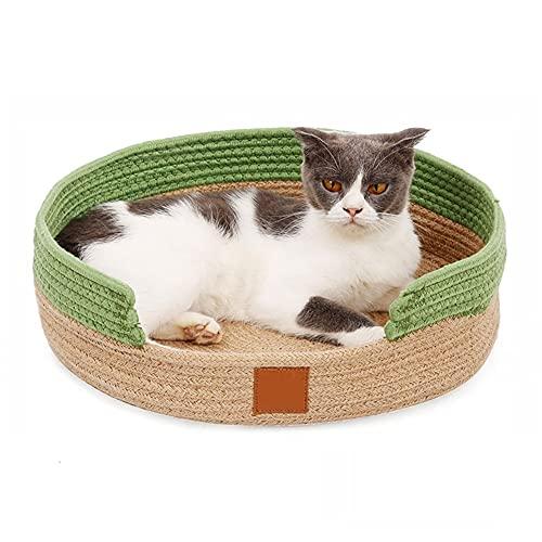 Aiglen 2 en 1 rascador Redondo para Gatos, cojín para Cama, Cesta de algodón, raspadores y Camas duraderos para Gatos, para Gatos, Almohadilla para rascar Perros, Juguete Interactivo para Gatos