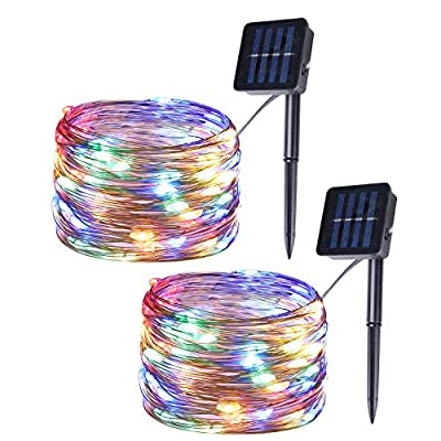 Milky Way Ave 2 Pack 100 LED Solar String Lights, Outdoor Multicolor Copper Wire Fairy Lights, Waterproof Garden Decoration Christmas Lights