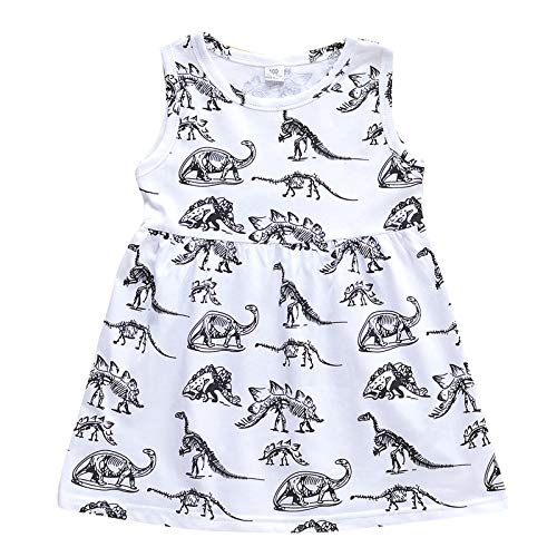 Julhold Ropa de vestir informal sin mangas con estampado de dinosaurio para niños pequeños